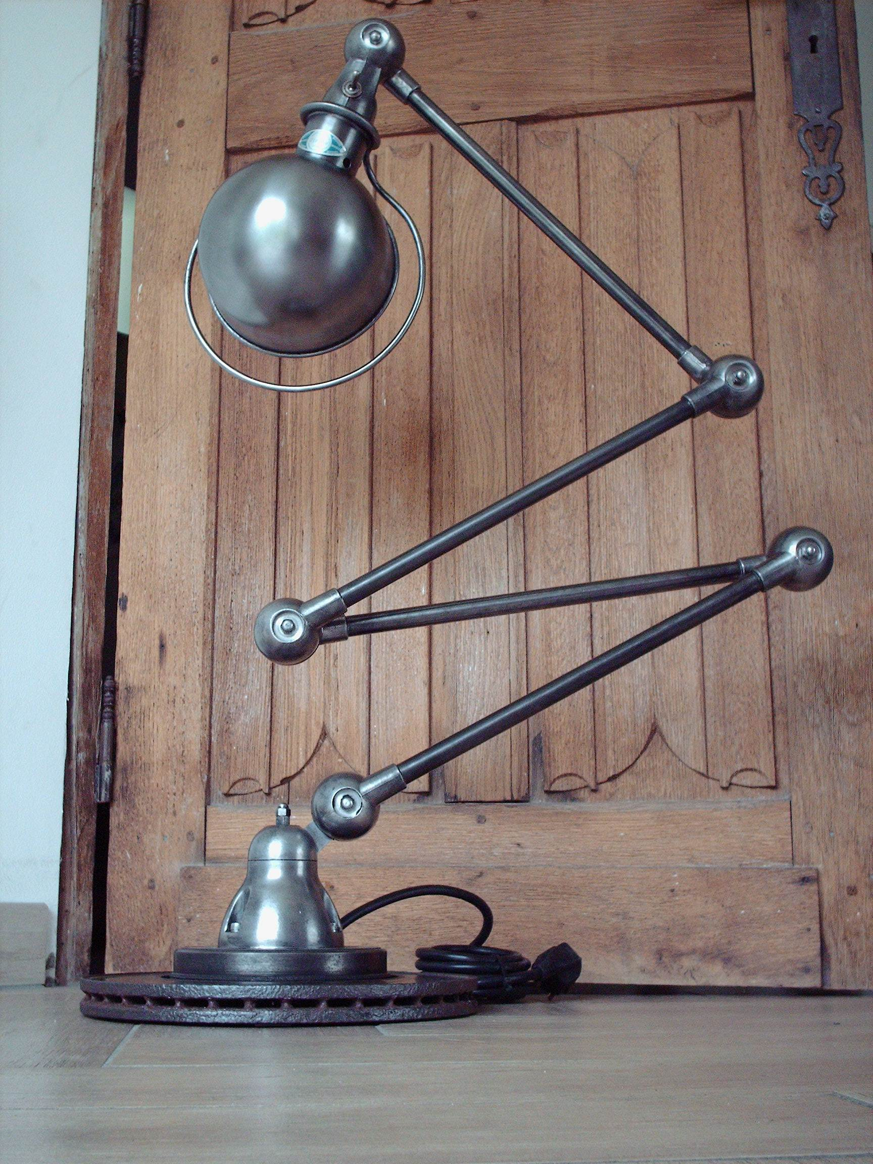 beautiful jielde lamp 1950 4 arms graphite steel metal french industrial ebay. Black Bedroom Furniture Sets. Home Design Ideas