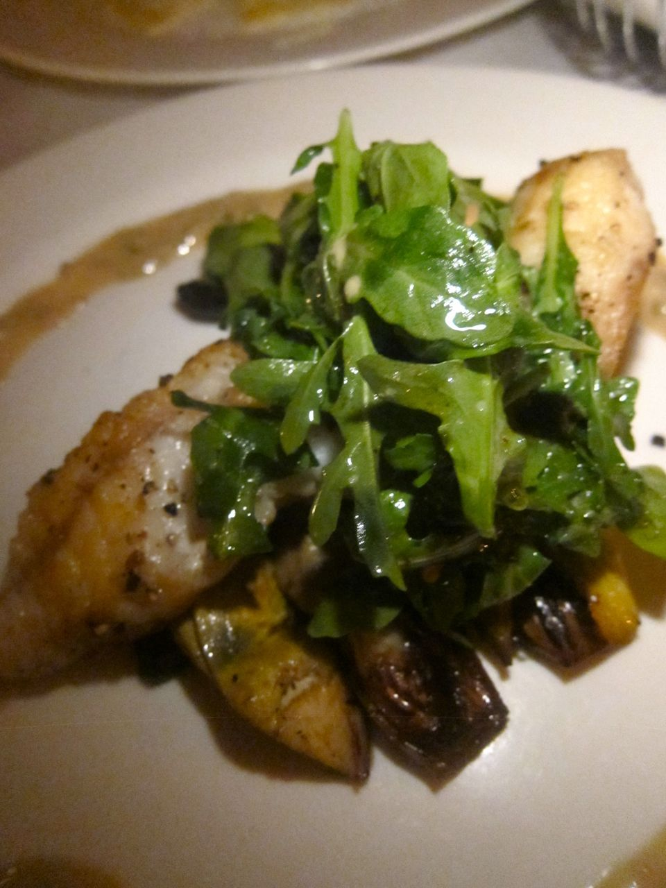 Lavagna's monkfish was just a tad overcooked but I like the arugula salad on top.