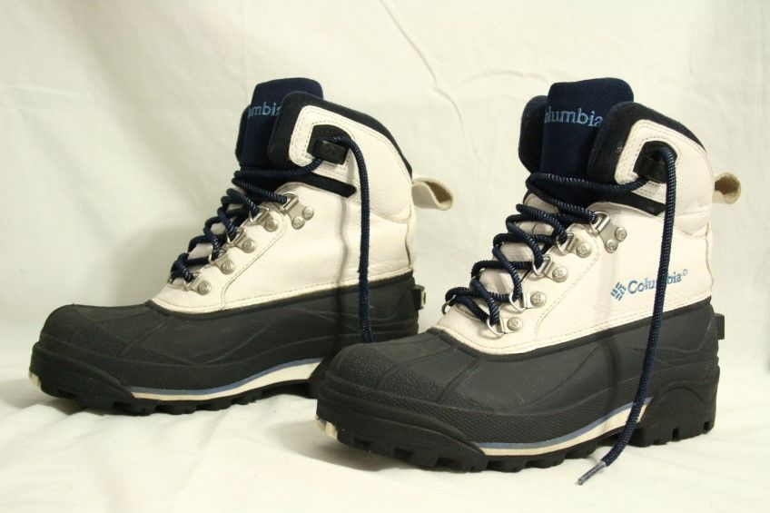 columbia bugabootoo blue white leather rubber snow winter