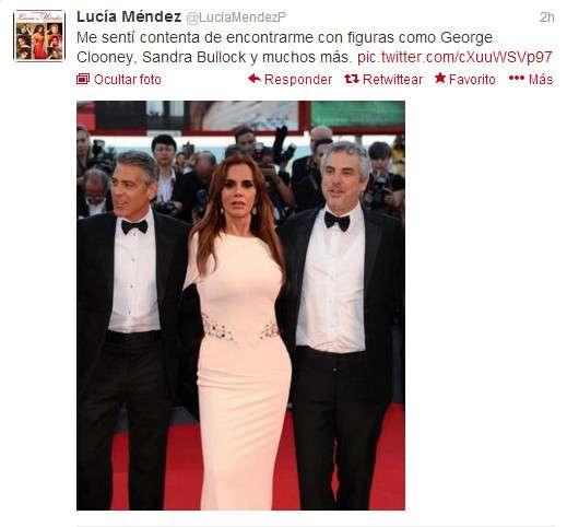 Lucia Mendez con George Clooney y Alfonso Cuarón