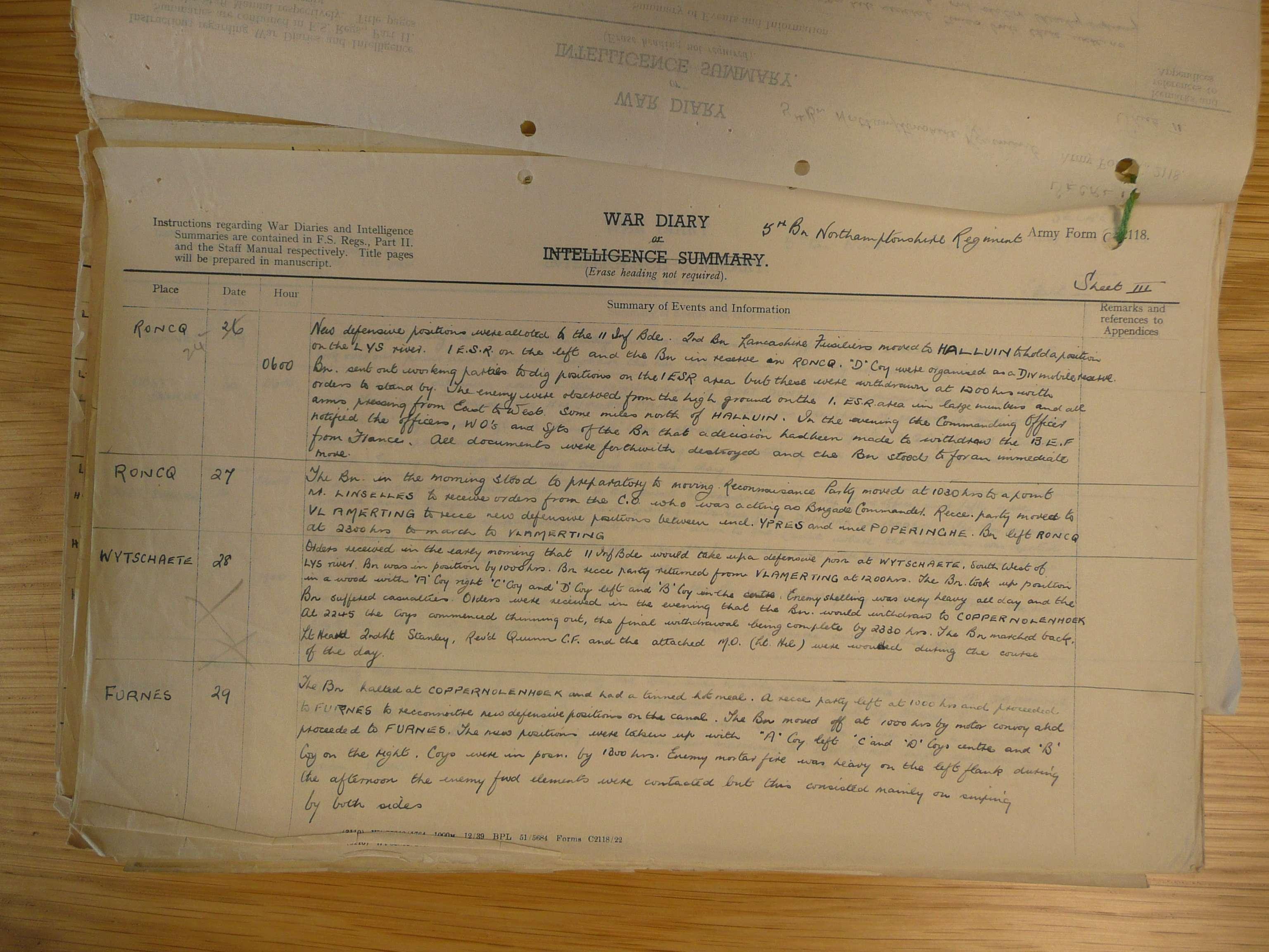 5th Battalion Northamptonshire Regiment / 25th May 1940